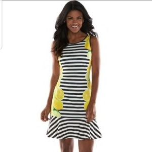 New Elle Lemon Striped Flounce Hem Dress